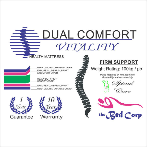 Dual Comfort Vitality Bed Technical Specs