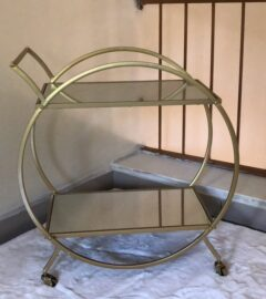ROUND DRINKS TROLLEY IN GOLD POWDER COATED FINISH @ R3,600.00 EX VAT